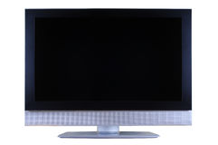LCD television set. Silver and black LCD TV set isolated on white background Stock Images