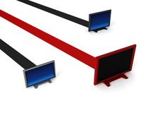 Lcd televisions on stripes Stock Image