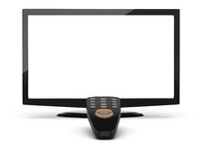 Lcd televisor and remote control Stock Photos