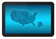 LCD Touch Screen Tablet with USA Map. LCD Touch Screen Tablet with USA States Map, also Alaska and Hawaii. Include 3 clipping path (outer, inner blue, inner Royalty Free Stock Photography