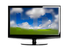 Lcd TV. Modern HD TV showing a beautiful green landscape Stock Photography