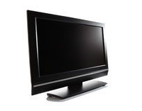 LCD TV. LCD high definition flat screen TV against white background Royalty Free Stock Images