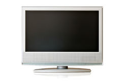 LCD TV. Flat LCD TV isolated over white background Stock Photo