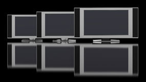 LCD TV against black Stock Images