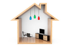 Lcd TV with Chairs in the Wooden House Outline Stock Photography
