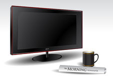 LCD TV with coffee and newspaper Royalty Free Stock Photos