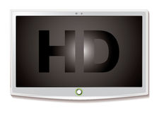 LCD TV HD white. Modern LCD screen with HD text and white bevel and shadow Royalty Free Stock Photos