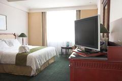 LCD tv in the hotel room. LCD television in five star hotel room Royalty Free Stock Photography