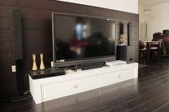 Lcd TV in living room. The lcd TV in the living room Royalty Free Stock Photos
