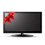 Lcd-TV med den röda pilbågen stock illustrationer