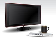 LCD TV met koffie en krant vector illustratie