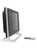 LCD TV Monitor. A LCD TV monitor isolated against a white background Royalty Free Stock Photo