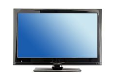 Lcd tv monitor. Blue lcd tv monitor isolated on white background Stock Images