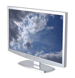 Lcd tv monitor on white background. Stock Photos