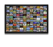 LCD TV panels as Video wall with colorful images. LCD TV panels as Video wall with lot of colorful images stock photo
