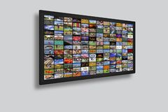LCD TV panels as Video wall with colorful images. LCD TV panels as Video wall with lot of colorful images royalty free stock images