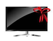 LCD TV with red bow Stock Photos
