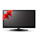 LCD TV with red bow Stock Images