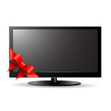 LCD TV with red bow Stock Image