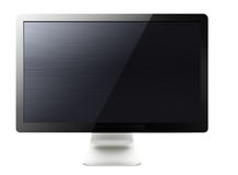 LCD tv screen. Black LCD tv screen hanging on a wall .  (with clipping work path Royalty Free Stock Images