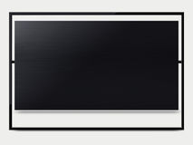 LCD tv screen. Black LCD tv screen hanging on a wall .  (with clipping work path Stock Photography