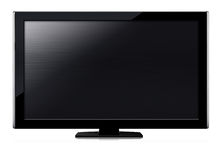 LCD tv screen. Black LCD tv screen hanging on a wall .  (with clipping work path Stock Photos
