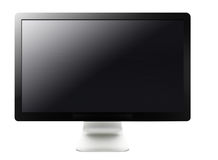 LCD tv screen. Black LCD tv screen hanging on a wall .  (with clipping work path Royalty Free Stock Image