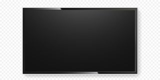 LCD TV screen isolated transparent background vector flat black television panel glass. LCD TV screen isolated on transparent background. Vector flat black Royalty Free Stock Photo