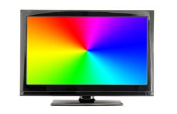 Lcd tv screen with rainbow colors. Isolated on white background Stock Photo