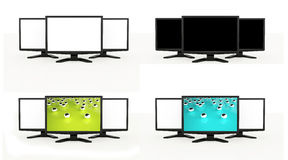 LCD TV screens rendered isolated on white Stock Photos