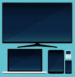 Lcd tv, smartphone and tablet and laptop Stock Photos