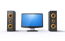 Lcd tv and speakers. Lcd tv with powerful speakers on the white background (3d render Stock Images