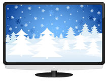 Lcd tv and winter landscape Stock Images