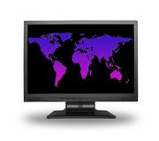 Lcd with world map Stock Photos