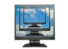 LCDs reproducidos en el cielo azul Foto de archivo