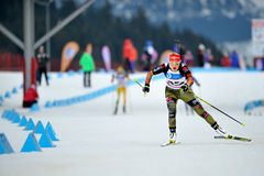 LCheile Gradistei, Roamania - January 31: Unknown competitor in I. Cheile Gradistei, Roamania - January 31: Unknown competitor in IBU Youth&Junior World Royalty Free Stock Photo