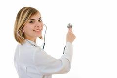 Lächeln des hübschen Doktors Stockfotografie