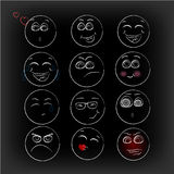 lächeln Ikonen Emoticons gefühle Lustiges Gesicht Lizenzfreie Stockfotos