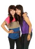 Lächeln mit zwei Mädchen Stockfoto