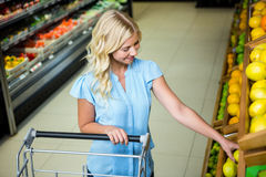 Lächelnde Frau, die Zitrone nimmt Lizenzfreie Stockfotos