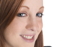 Lächelnde Frauennahaufnahme Stockfotos