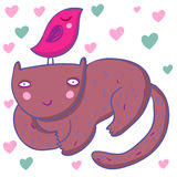 Lächelnde nette Kindabbildung der Katze Stockbilder