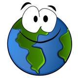 Lächelnde Planeten-Erde-Karikatur Stockfoto