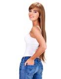 Lächelnde schöne indische Frau mit dem langen Haar Stockfoto