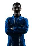 Lächelndes freundliches Schattenbildporträt des Mannbauarbeiters Lizenzfreie Stockfotografie