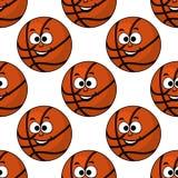 Lächelndes nahtloses Muster des Basketballs der Karikatur Lizenzfreies Stockfoto