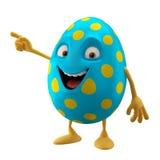 Lächelndes Osterei, lustige Zeichentrickfilm-Figur 3D, Hände zeigend Stockbild