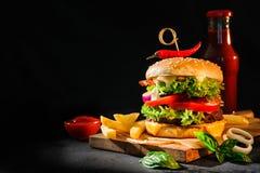 Läcker hamburgare med franska småfiskar Arkivbilder