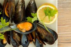 Läcker musslamaträtt Arkivfoton