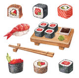 Läcker sushi. Watercollor illustrationer Royaltyfri Fotografi